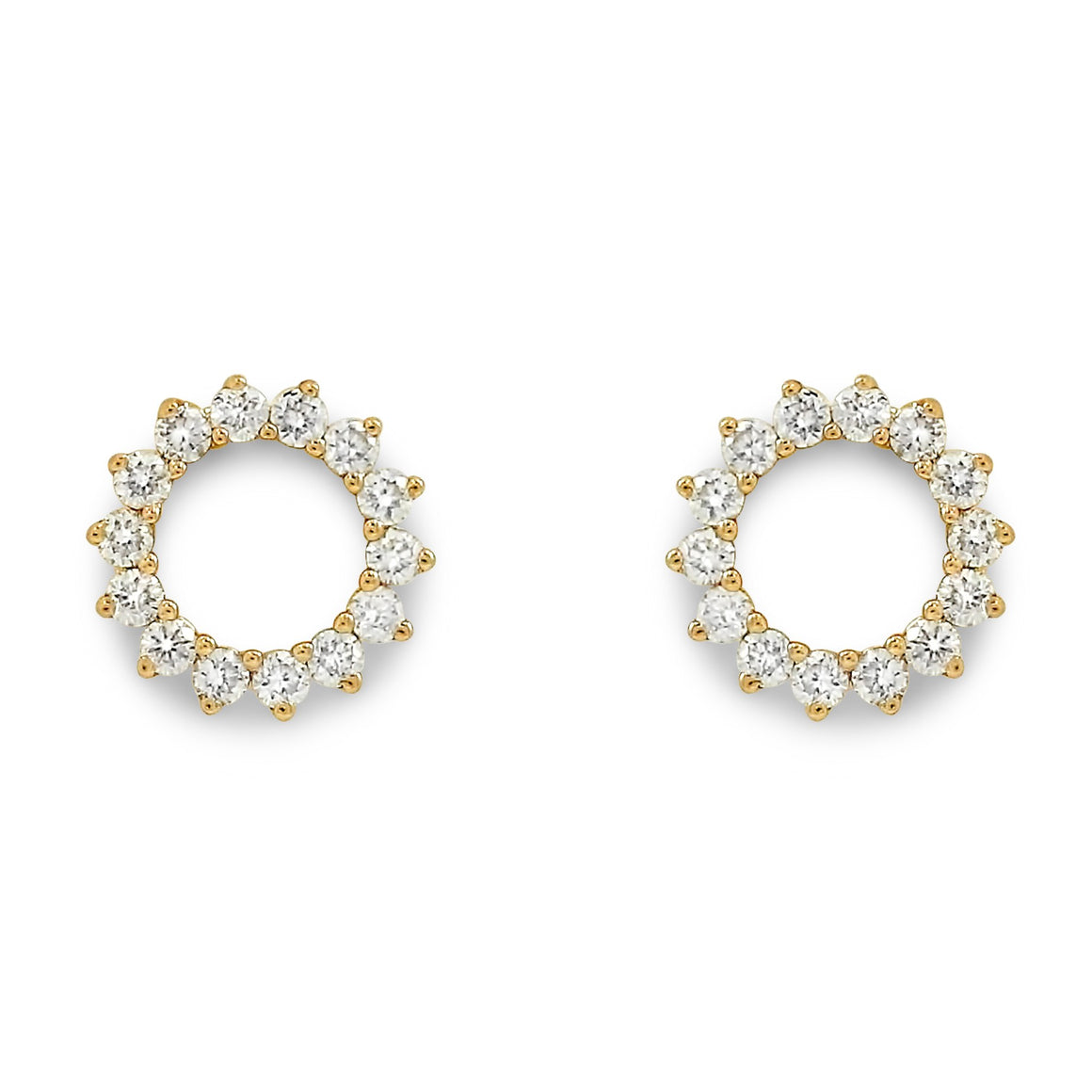 14k yellow gold circle stud diamond post earrings