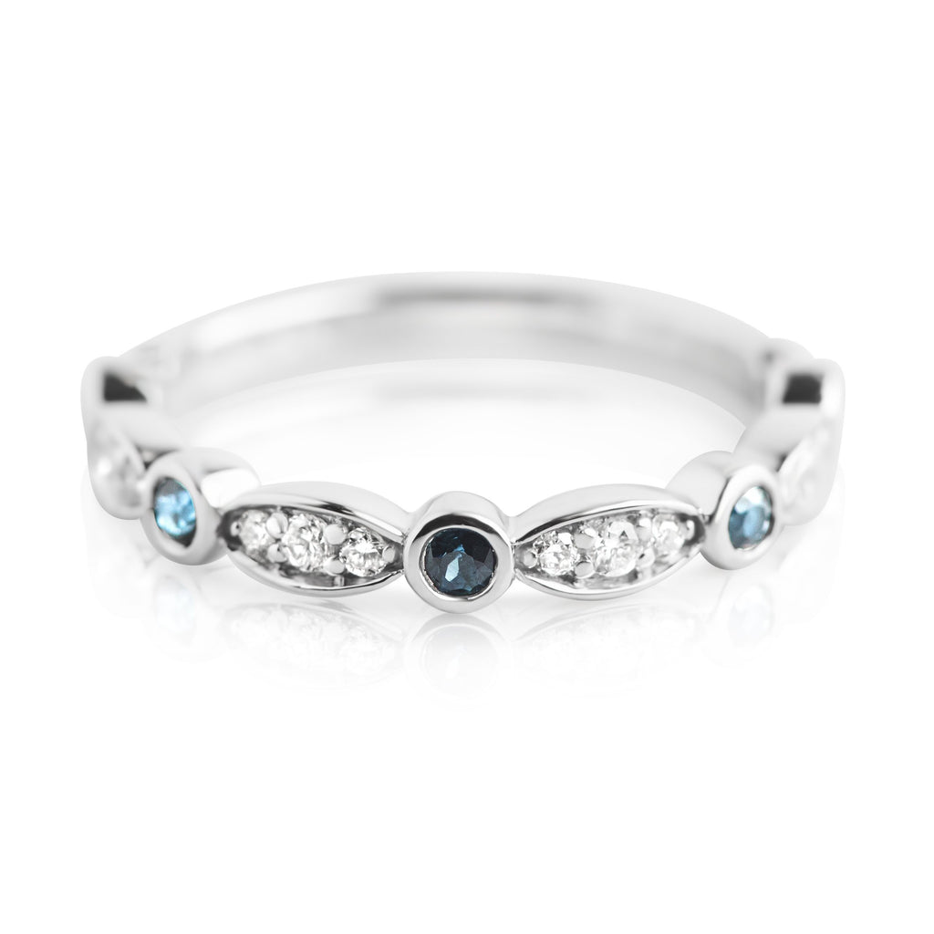 DIAMOND AND SAPPHIRE WEDDING RING WITH WHITE GOLD BAND
