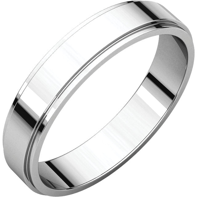white gold 4mm wide men's flat wedding band