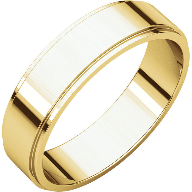 5mm yellow gold flat men's wedding band