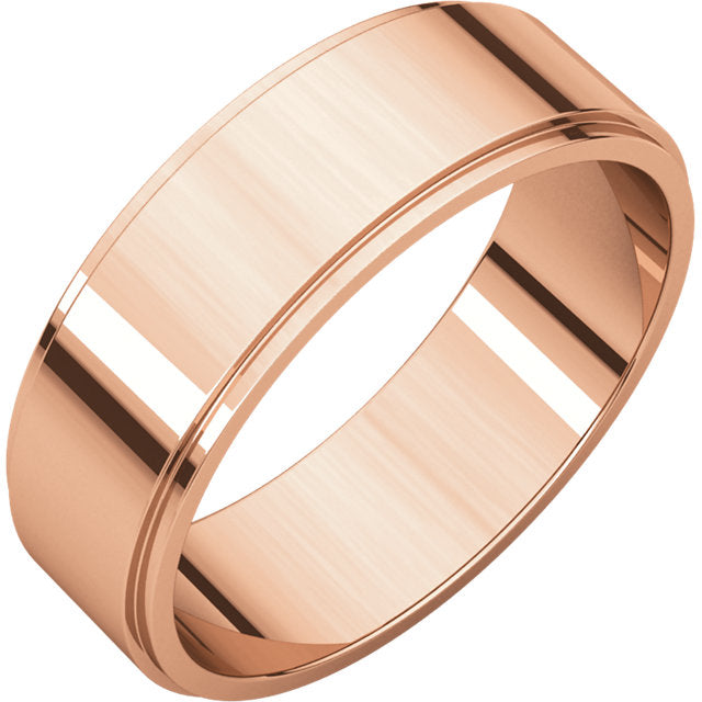 men's wedding band rose gold 6mm wide flat band