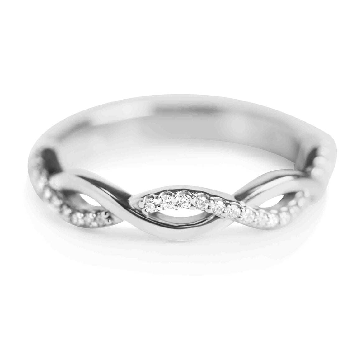 WHITE GOLD AND DIAMOND TWISTED PAVE WEDDING BAND