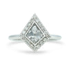 0.77ct rose cut gray kite shaped diamond ring with a white diamond halo 14k white gold
