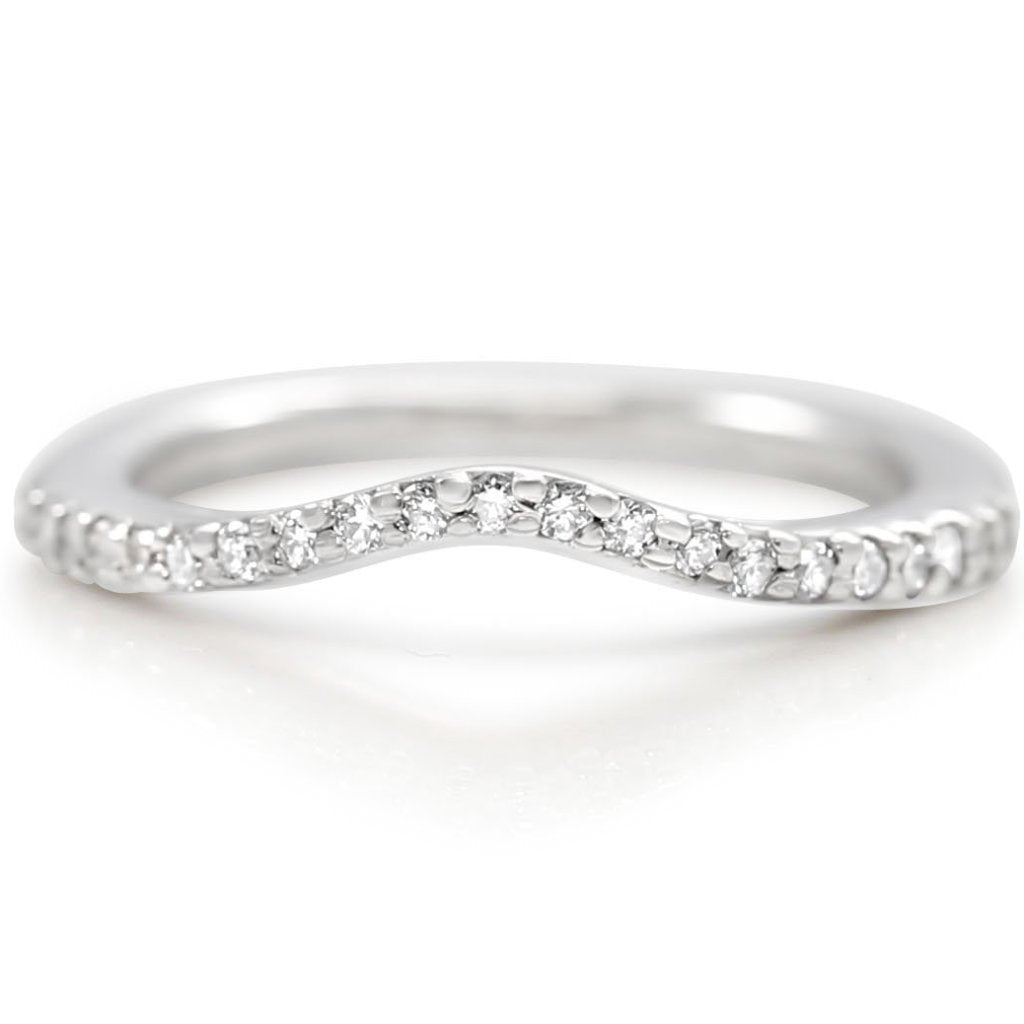 WHITE GOLD ESTATE CURVED WEDDING BAND WITH WHITE DIAMONDS