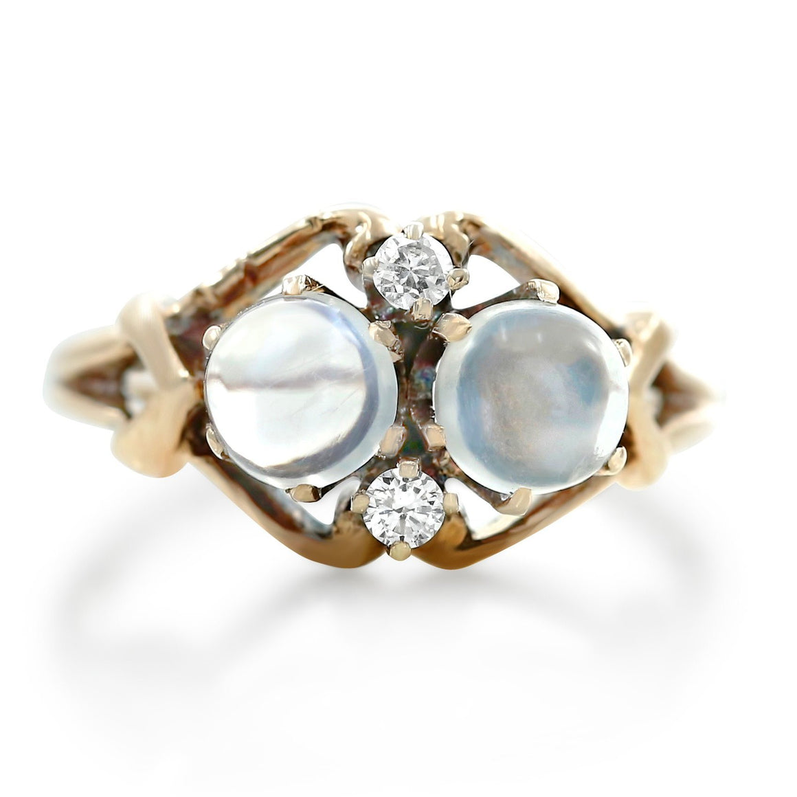 moonstone and diamond art nouveau right hand ring with yellow gold band