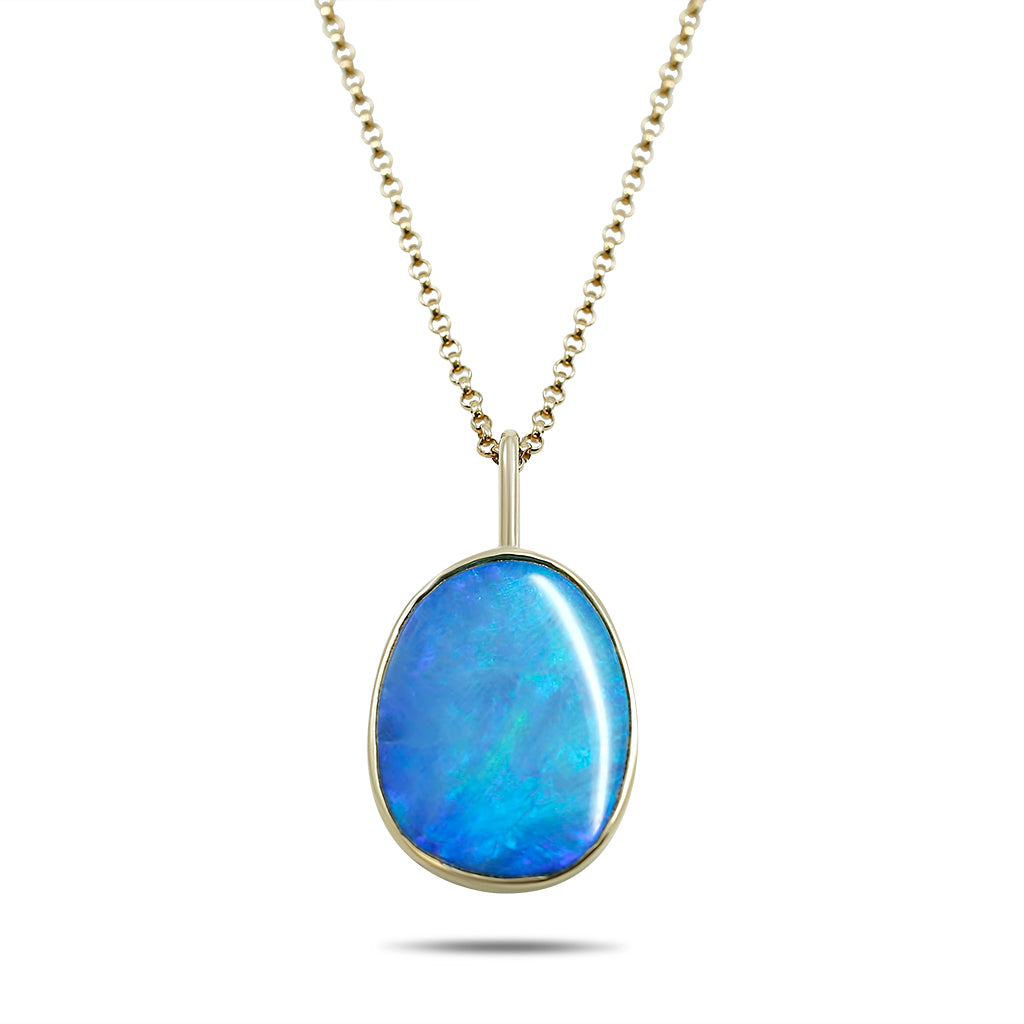 Australian boulder opal pendant with yellow gold chain and handmade bezel setting