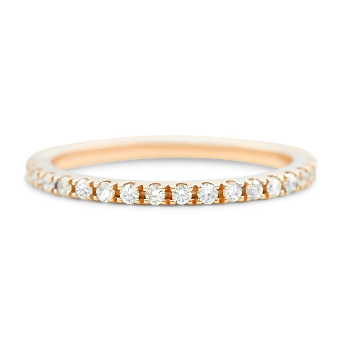 14k yellow, white or rose gold round diamond wedding band with split prongs fits flush