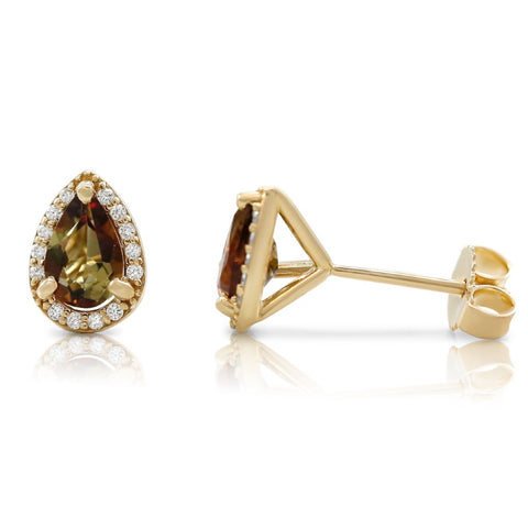 andalustie and diamond stud earrings pear shaped with halo and yellow gold posts