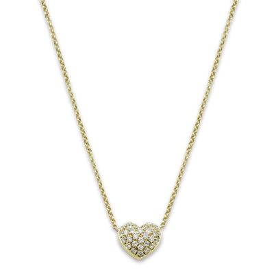 yellow gold diamond heart estate necklace