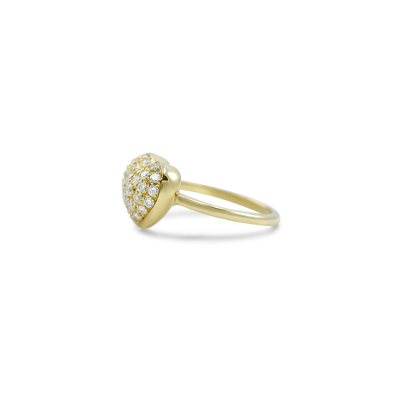 heart shaped estate diamond ring with yellow gold band