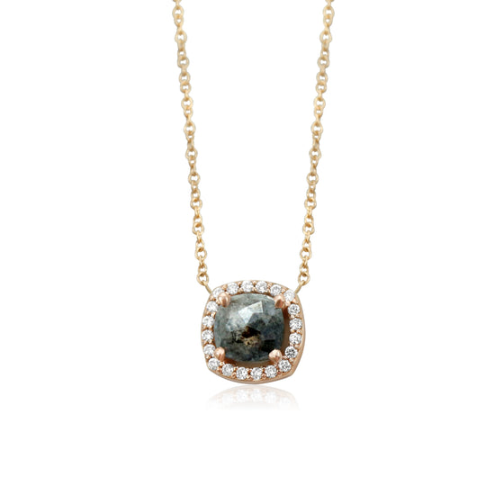 rose cut gray diamond necklace with a diamond halo and rose gold chain
