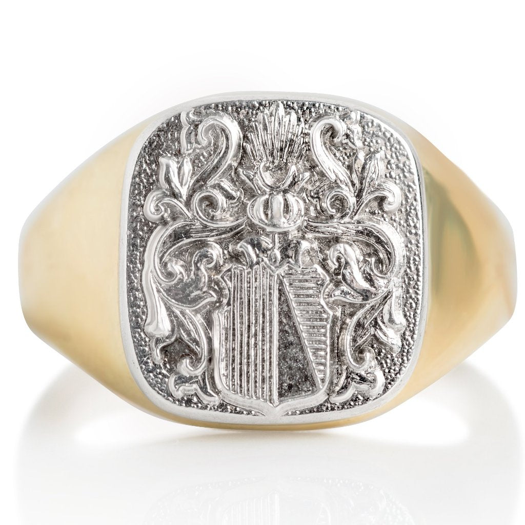 hand crafted signet ring yellow and white gold