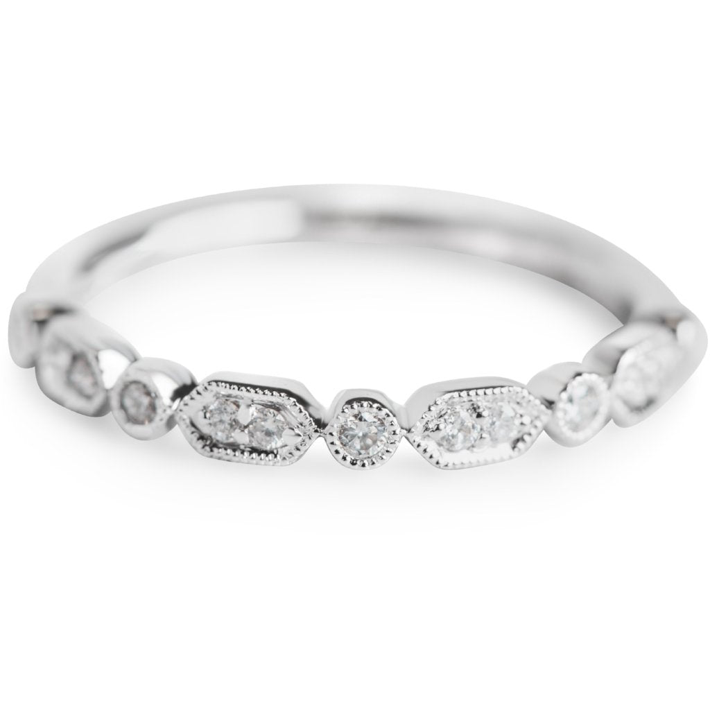 ROUND WHITE DIAMOND WEDDING BAND OR STACK RING