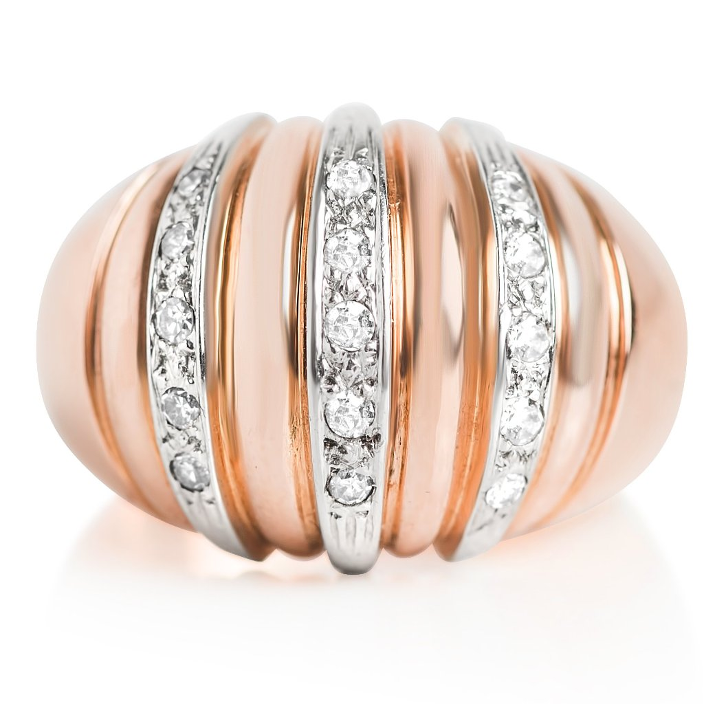rose gold estate cocktail ring with white gold and diamonds