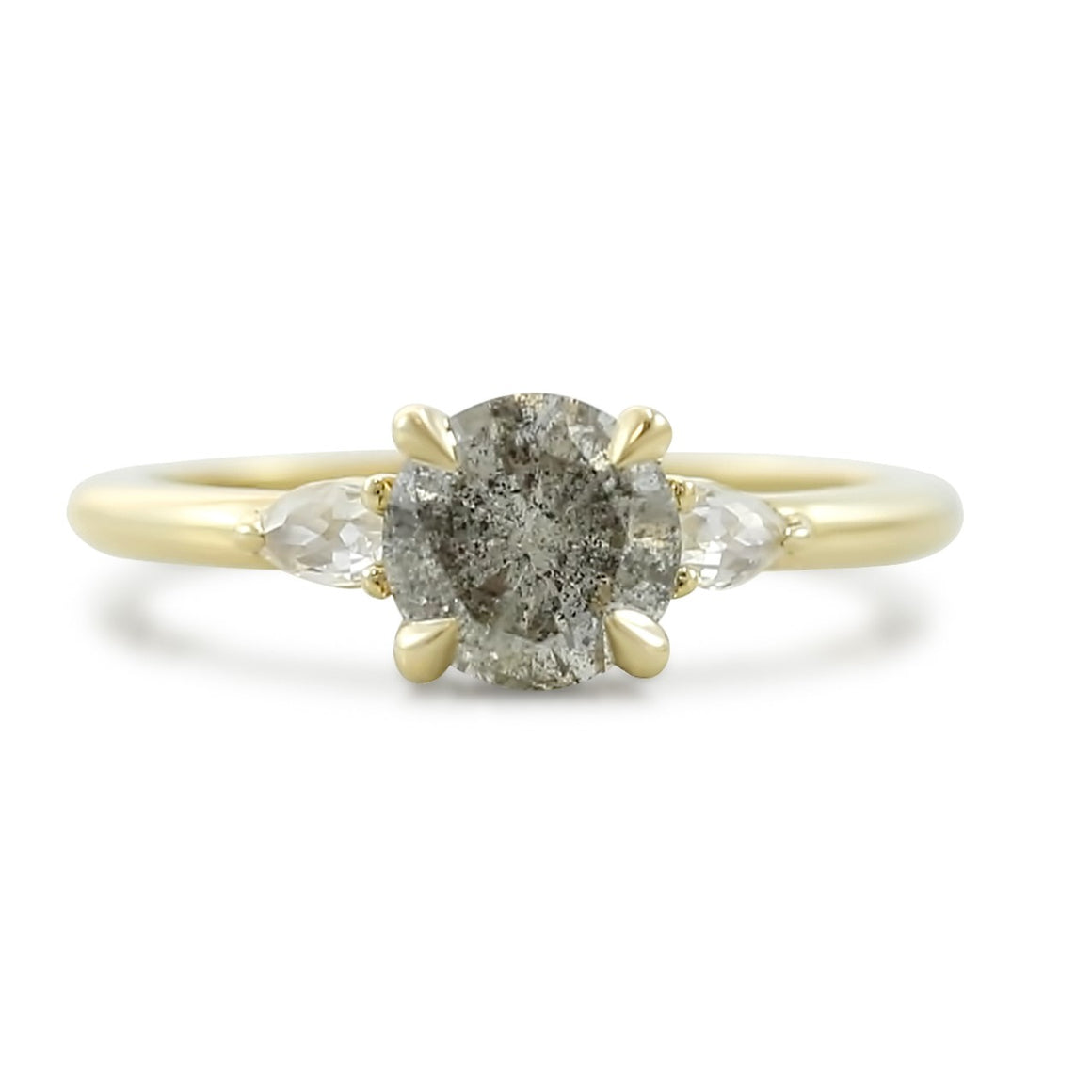 three stone gray salt and pepper round brilliant cut diamond engagement ring with pear shaped side diamonds 14k yellow gold