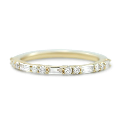 14k yellow rose or white gold 3/8tcw white round and marquise shaped diamond wedding band
