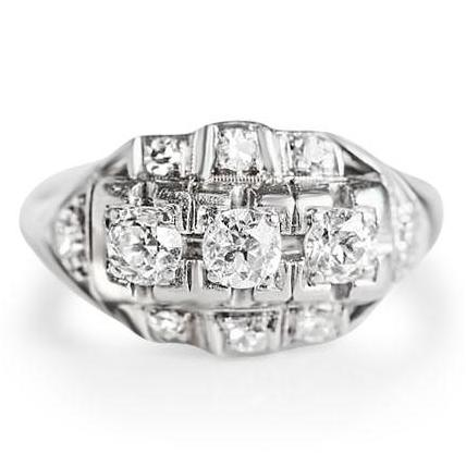 Estate 3 stone diamond engagement ring with platinum from the Art Deco era