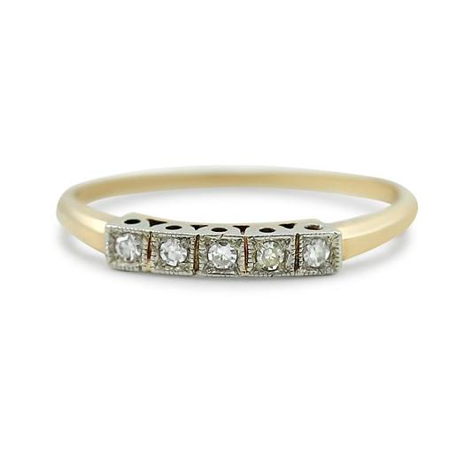 two-tone yellow and white gold estate wedding band with diamonds