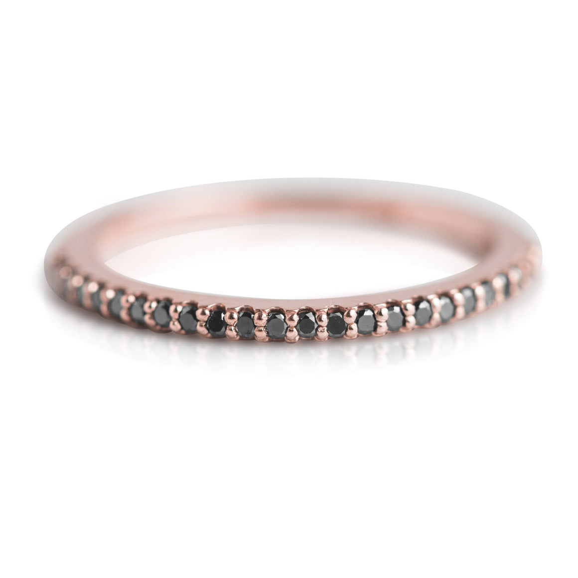 BLACK DIAMOND AND ROSE GOLD STACK RING