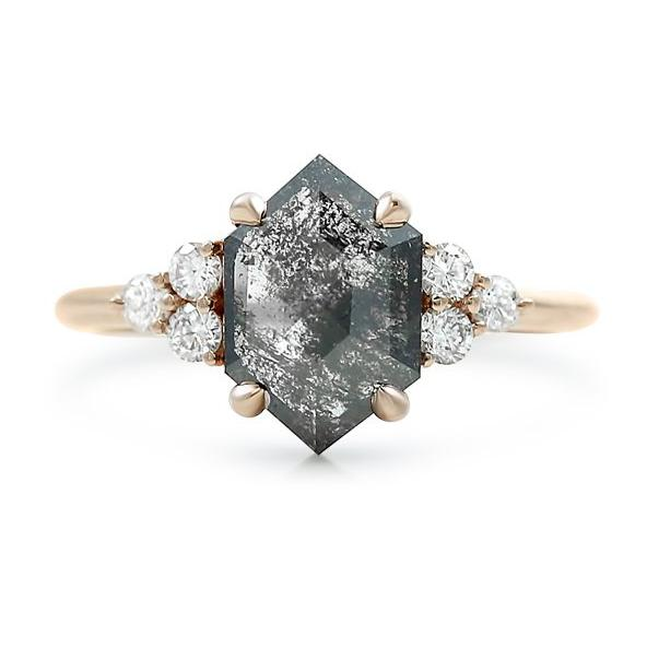 hexagon shaped salt and pepper diamond ring with round white diamonds and a rose gold band