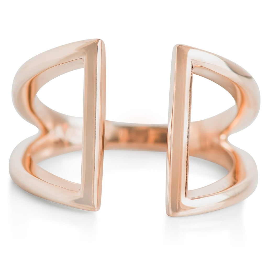 yellow gold geometric statement ring
