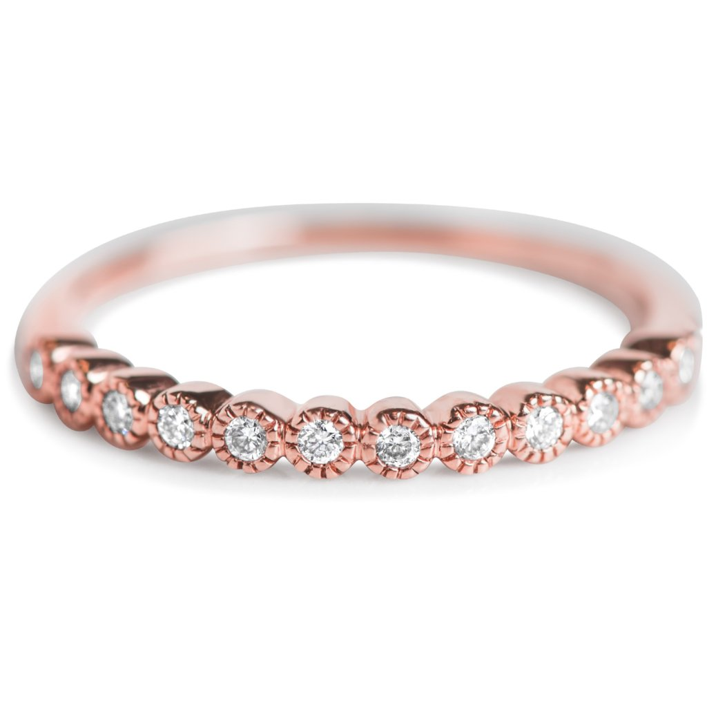 BEZEL SET DIAMOND WEDDING BAND ROSE GOLD