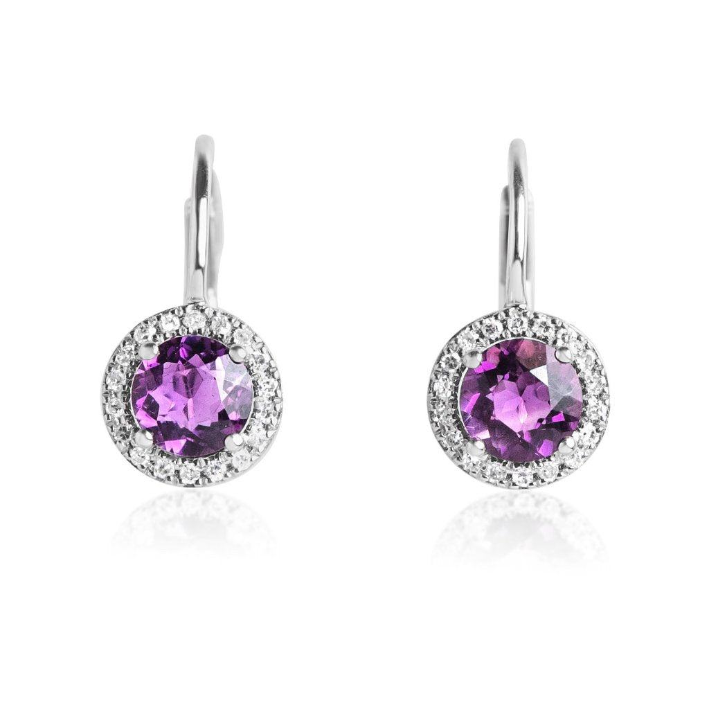 ROUND AMETHYST GEMSTONE AND WHITE DIAMOND LEVER BACK EARRINGS