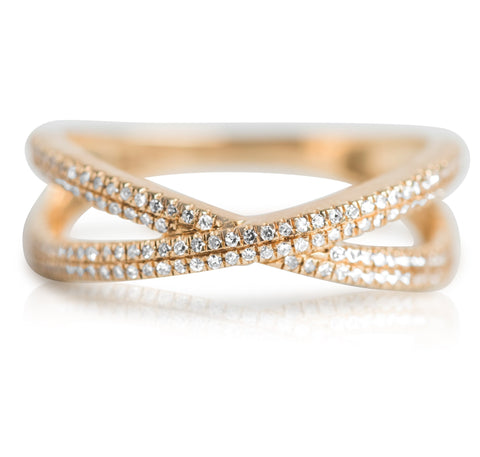 yellow gold and white diamond geometric X shaped right hand ring