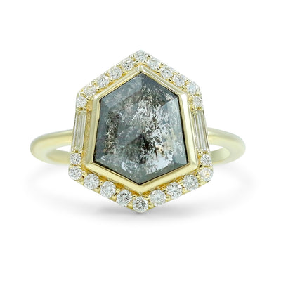 14k yellow gold hexagon shaped gray diamond engagement ring with a white diamond halo baguette and round diamonds