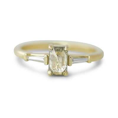 14k yellow gold three stone gray rose emerald cut diamond engagement ring with tapered baguette diamonds on each side