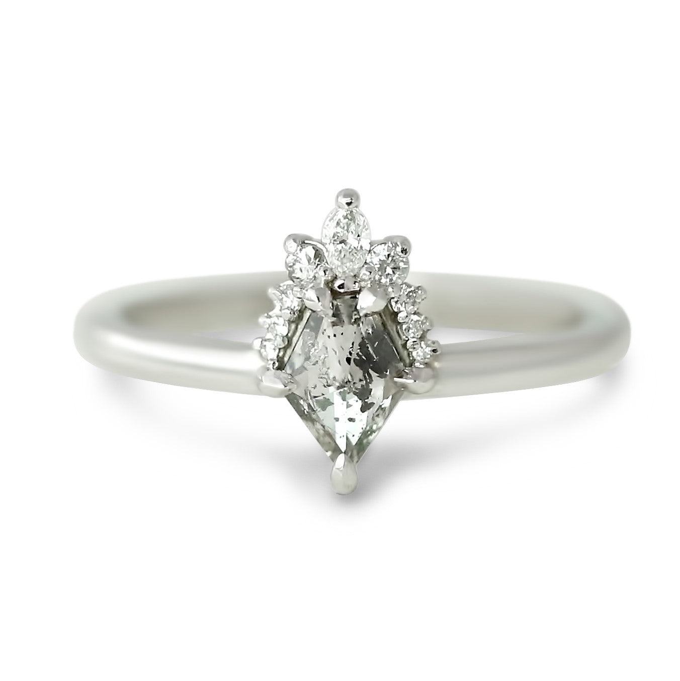 14k white gold rose cut gray kite diamond with marquise diamond halo