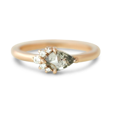 14k rose gold  canada kite gray diamond nsew engagement ring in 14k rose gold