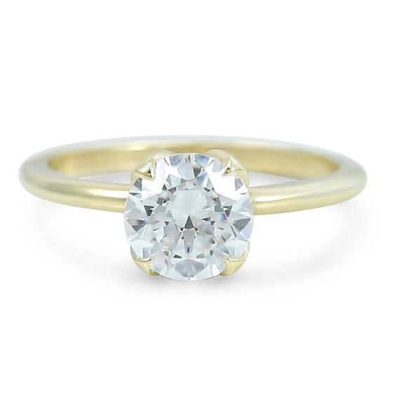ready to ship diamond engagement ring set with four petal prongs unique side view available in 14k yellow, white, rose or peach gold and platinum