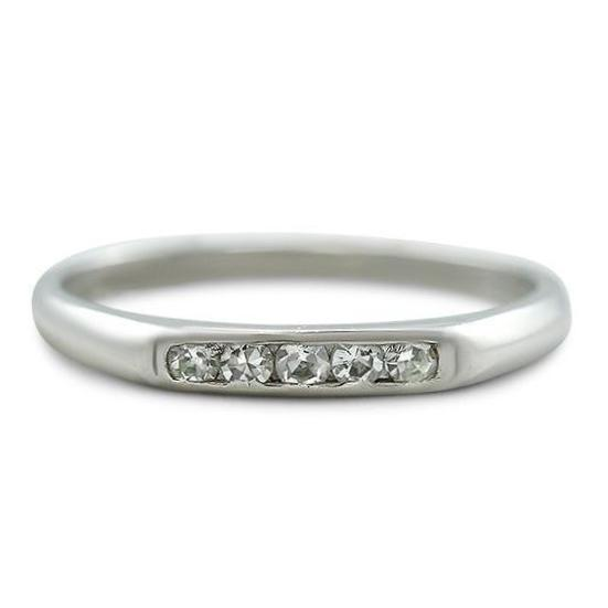 platinum and single cut diamond estate wedding band