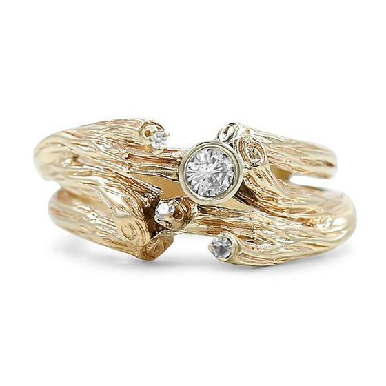 twig branch yellow gold estate ring with bezel set white diamonds