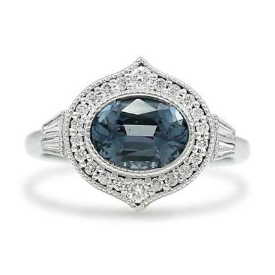 gray Tanzanian spinel gemstone ring with white diamond halo and white gold band