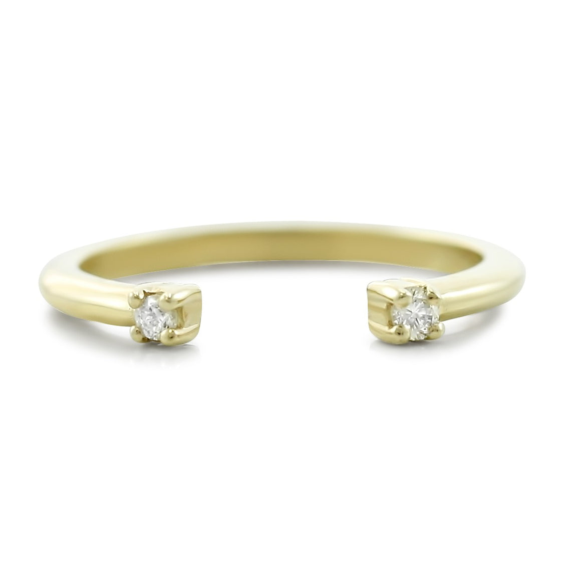 14k yellow gold open wedding band with white diamonds