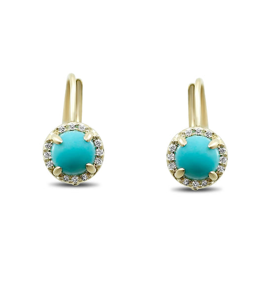 cabochon turquoise lever back earrings with matching white diamond halos