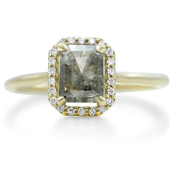 square shaped gray diamond right hand ring with a white diamond halo and thin yellow gold band
