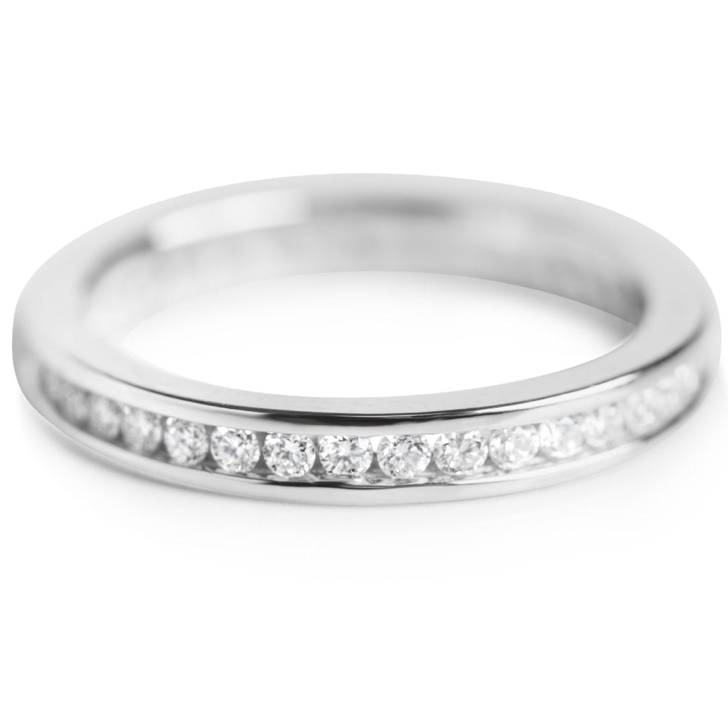 WHITE GOLD AND DIAMOND ETERNITY WEDDING BAND OR STACK RING