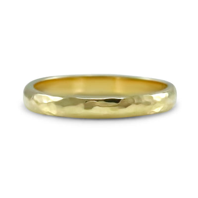 18k yellow gold hammered estate half round wedding band