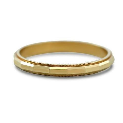 hand engraved estate wedding band with milgrain and 14k yellow gold