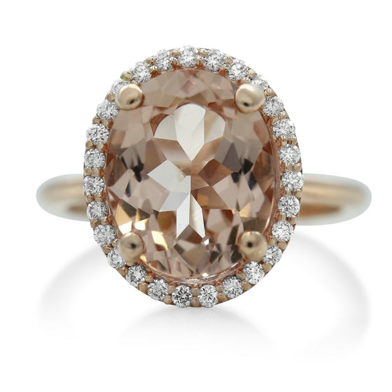 morganite centerstone right hand ring with a white diamond halo and a rose gold band