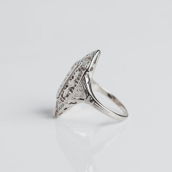 white gold and diamond ring side view