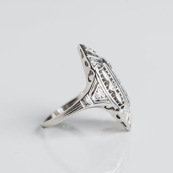 white gold and diamond geometric ring