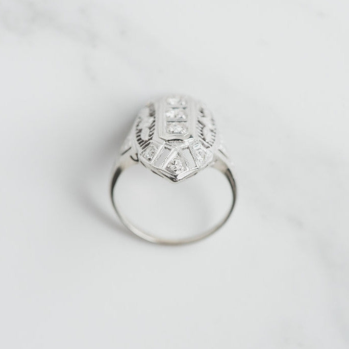 white gold and diamond art deco ring