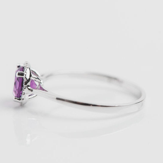 white gold purple gemstone ring side view