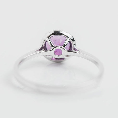 white gold purple amethyst ring back view