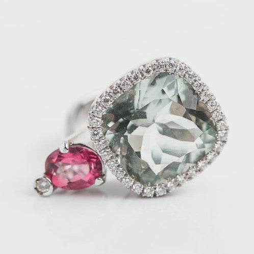 pink and green gemstones, diamond halo cocktail ring