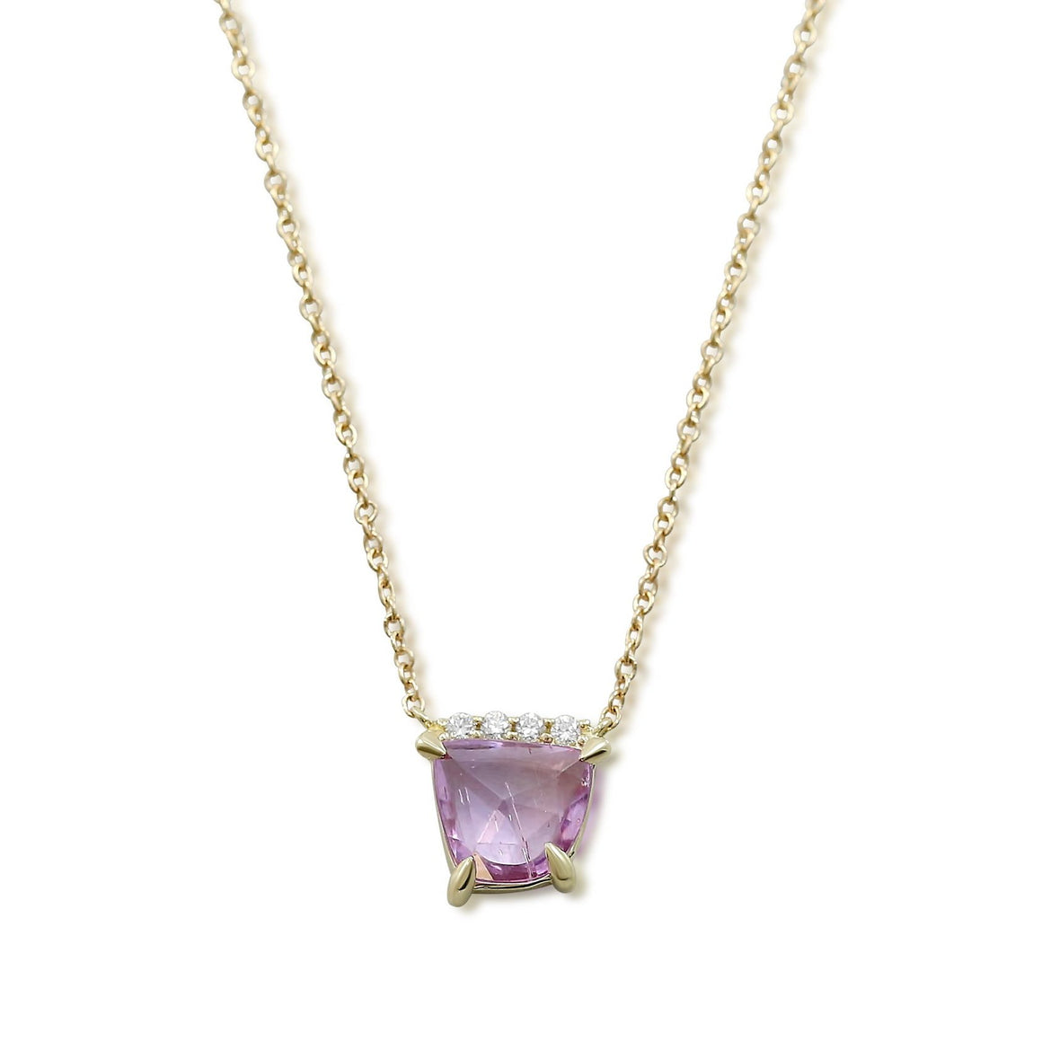 pink sapphire slice necklace with line of white diamonds set in 14k yellow gold with a yellow gold chain
